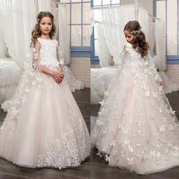 Wholesale beaded wedding dresses butterfly - Beaded Flower Girl Dresses Butterfly Lace Applique Little Girls Dress For Wedding Pink Pageant Gowns With Wrap
