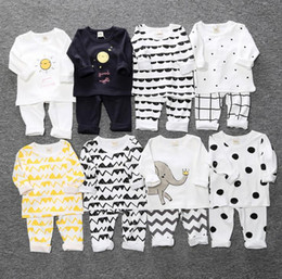 Wholesale Kids White Leisure Suit - New Autumn Winter Ins Baby Set Kids Loungewear Leisure Wear Cartoon Striped Dots 2pcs Clothing Suit Warm Cotton Tshirt Pants Children Outfit