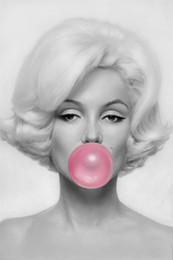 Wholesale Bubble Posters - Custom Sexy Lady Canvas Poster Bubble Marilyn Monroe Wall Decals Marilyn Monroe Wallpaper Pinup Wall Stickers Bedroom Mural 2037
