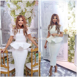 Wholesale Cheap Chic Long Evening Dresses - White Chic Sexy Arabic 2017 Evening Dresses Bateau Sheath Tea Length Satin Prom Dresses Cheap Formal Party Gowns for Cocktail