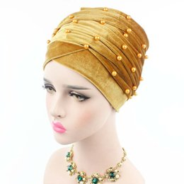 Wholesale Long Scarves White - New Luxury Woman Velvet Turban Headband Beaded Studded Pearled Extra Long Velvet Turban Head Wraps Hijab Head Scarf