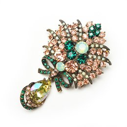 Wholesale Shawls Pin - Wholesale- New Fashion Big Water Drop Crystal And Rhinestone Flower Brooches For Women Fine Coat Shawl Scarf Clip Pins Party Jewelry