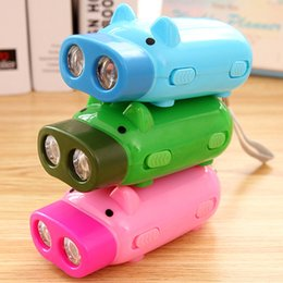 Wholesale Hand Crank Led Torch - Dynamo Flashlights Manual Hand Pressing Power 2 LED Protable Pig Shaped Cartoon Torch Light Crank Power Wind Up For Camping Lamp