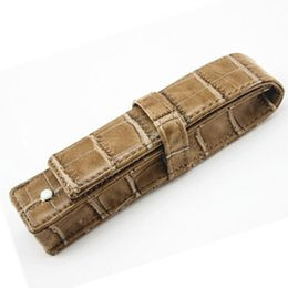Wholesale School Bag Rollers - Wholesale- 2pcs Luxury MB chocolate Leather Pen Case For Only One Fountain Pen Or Roller Ball Pen Free Shipping