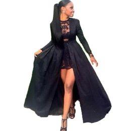 Vestido de noche de satén con mangas negro online-Vestidos formales Ropa de noche 2019 Nuevo diseño de satén negro Vestido de fiesta bajo de manga larga Vestido de noche de manga larga