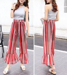 Wholesale Chiffon Trousers For Women - Ruffles Wide Leg Pants Women Summer Capris 2017 Fashion Casual Floral Printed High Waisted Chiffon Flare Trousers for Ladies Sweatpants