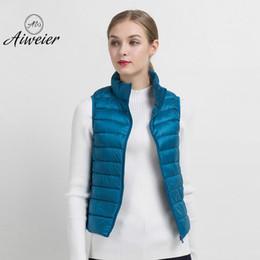 Wholesale Knit Vest Fur Collar - [Aiweier] Women's Down Jackets Autumn Winter Korean Ultra-light Thin Sleeveless Vest Short Zipper Solid Female Fur Coats IL8701