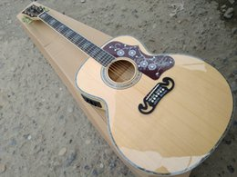 Wholesale Wood Large - ALLNEW43 inch large box rounded corners J200 wood color folk guitar guitar inlaid with fisherman EQ