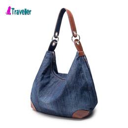 Wholesale Blue Jean Bag - Wholesale- Designer Denim Handbags Large Women Messenger Bags Purses Jean Bags Women Big Hobos Ladies Travel Hand Bags Tote Cross Body Bag
