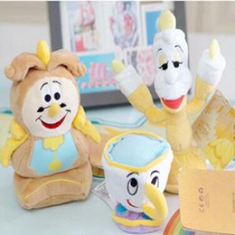 Wholesale Hanging Bell Toys - Beauty And The Beast Plush Toys Cartoon Cup Candle Hanging Bell Stuffed Animals Beauty And The Beast Stuffed Toys CCA5915 60pcs