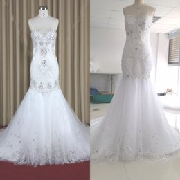 Wholesale Embroidery Pearls Mermaid Wedding Gown - 2017 Luxury Embroidery Mermaid Wedding Dresses Sweetheart Beads Pearls Aradal Bridal Gowns Real Photos Lace Up Wedding Dresses Free Veil