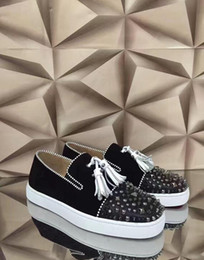Wholesale Canvas Shoes Pattern - Black genuine leather white macrames shoes toes with mix revits splikes leather red bottom lazy loafer nice pattern shoes casual mens 36-46
