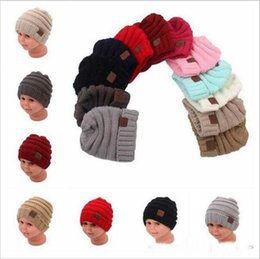 Wholesale Wholesale Skully Hats - kids Winter Warm Hat Knitted CC Hat Label Children Simple Chunky Stretchable kids Knitted Beanies Baby Hat Beanie Skully Hats YYA275