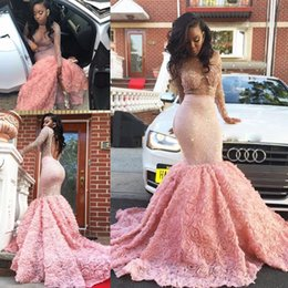 Wholesale Split Open Prom Dresses - South African Pink Long Sleeve Prom Dresses Sexy See Through Sheer Neckline Mermaid Evening Gowns Open Back Formal Vestidos Party Dress