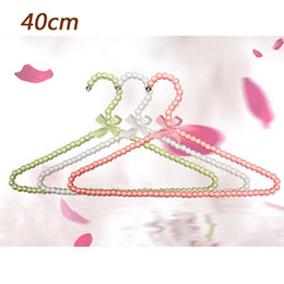 Wholesale Metal Hanger Plastic Coating - Ywbeyond 40cm pearl plastic adult hanger Fashion rack hangers for clothes coat sweater dress Good Birthday gifts for girls