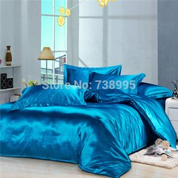 Wholesale Imitation Silk Bedding Set - Wholesale-Home textile Bedding set Artifical Silk duvet cover bed set bedclothes fitted sheet Imitation silk bed linens Twin Queen&King
