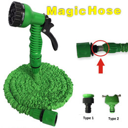Wholesale expandable garden - Expandable Hose 50FT Garden Water Hose Expandable Flexible Hose Green Blue Color 2pcs Joints with 7 in One