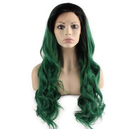2019 peruca verde escuro ondulado Peruca de Ombre Frontal Longo Ondulado Dark Root Green Two Tone Lace Front peruca verde escuro ondulado barato