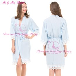 Wholesale Women Cotton Nightdress - Wholesale- Sexy Lace Robe 2016 New Cotton Soft Bride Pajamas Girls Wedding Party Kimono Women Bathrobes Gown Solid Party Nightdress