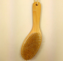 Wholesale Dry Cleaning Brush - Wholesale-New Natural Bristle Dry Skin Exfoliation Brush Full Body Detox Fight Cellulite Tool