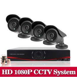 Wholesale Dvr Kit 1tb - HD 1080P HDMI 8CH 1080P Security AHD DVR CCTV Kit AHD 8 Channel CCTV Kits Security 2.0MP 4PCS 3000TVL Camera System 1TB HDD