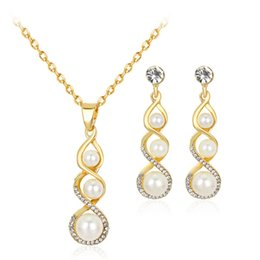 Wholesale Yoga Earrings - Crystal Pearl Yoga Chakra Necklace Earrings Jewelry Sets Gold Chain Necklaces for Women Wedding Bridesmaid Jewelry Gift 162182