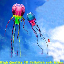 Wholesale Soft Jellyfish - high quality new 3d kite jellyfish soft kite nylon ripstop with handle line outdoor toys large kite surf octopus