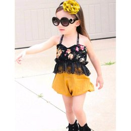 Wholesale Girls lace halterneck outfits pc set lace flower tube top yellow shorts for T