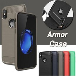 Wholesale Brushed Iphone Case - New Carbon Fiber Case Rugged Armor Hybrid Shockproof Slim Soft TPU Brushed Back Cover with Anti Shock Phone Cases For iPhone X 8 7 Plus 6 6S