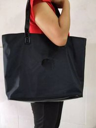 Wholesale New Style Coats - NEW style microfiber with PU coating bottom shoulder bag shopping tote with white logo