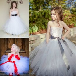 Wholesale Cheap Pink Belt For Dress - 2017 Princess Flower Girl Dresses for Weddings Party First Communion Long Puffy Baby Pageant Toddler Tulle Lace Gowns With Belt Cheap