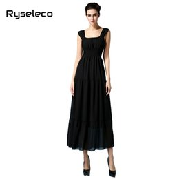 Wholesale Wholesale Black Tank Dresses - Wholesale- Ladies European Fashion 2017 Summer Sexy Slim Pleated White Black Sleeveless Tank Chiffon Long Casual Dresses Beach Wear QCD099