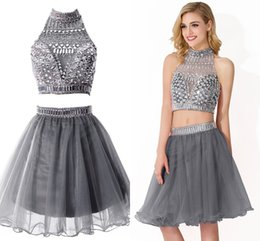 Wholesale Short Sequins Homecoming Dresses - 2015 In Stock Short Homecoming Prom Dresses High Neck Backless Crystal Beaded Two Pieces Hollow 20147 Cocktail Party Gowns CPS175