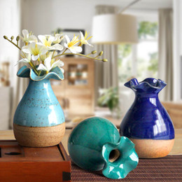 Wholesale Design Ceramic Vase - Handmade Flower Vase Mini Decoration Home Garden Decor Ceramic Flower Pot DIY Flower Decoration Classic Design Vases HOT SALE!