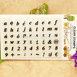 Wholesale scrapbook letters - Wholesale- Scrapbook DIY photo cards account rubber stamp clear stamp transparent stamp Letter a-z Number 0-9 Symbol 11x16cm KW661202