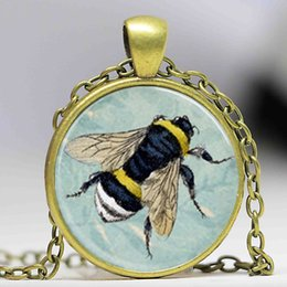 Wholesale tile necklaces - Free shipping Honey Bee Necklace Bumblebee on Blue Floral Background Scrabble Tile Pendant,Scrabble Tiles For Jewelry
