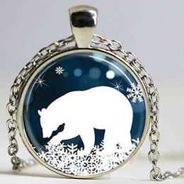 Wholesale Vintage Snowflake Necklace - Antique VINTAGE Polar Bear Pendant Christmas Necklace Blue and White Snowflake jewelry steampunk mens chain women fashion charm