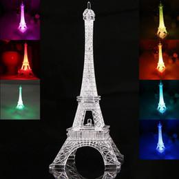 Wholesale Decoration Paris - Colorful Eiffel Tower Nightlight Paris Style Decoration LED Lamp Fashion Desk Bedroom Acrylic Light 50pcs lot