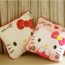 Wholesale Very Soft Cushion - Wholesale- 1pcs 35*35CM Super Kawaii Hello Kitty cat Pillows Soft Back Cushion Stuffed Plush Toys Baby Love Very Good Quality