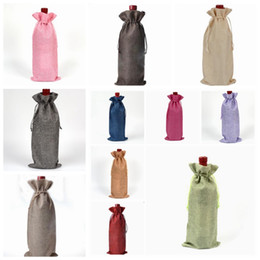 Wholesale Bottle Wrap - Linen Drawstring Wine Bags Dustproof Wine Bottle Packaging Champagne Pouches Christmas Gift Bags Party Gift Wrap 11 Colors YW226