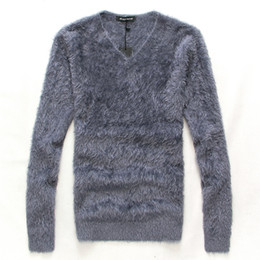 Wholesale Purple Mohair - Wholesale- 2016 winter New arrival Men's Clothing Male Fashion slim V-neck Pullover mohair sweater & Bottoming shirt Men casual Tops M L XL