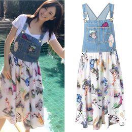 Wholesale Girl S Denim Dresses - Women Lady Girls Casual Fashion Cowboy Denim Chiffon Strap Stitching Denim Vacation Short Sleeve Dress 3026