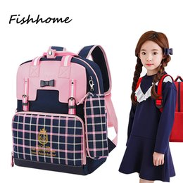 Wholesale Backpack Old School - Wholesale- Cartoon School Backpack 2016 New Lattice 7-10 years old Children Boys And Girls Lovely Cartoon Schoolbag Backpacks YSW325