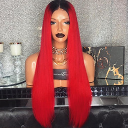 Wholesale Red Full Lace Wig Brazilian - Ombre 1BTRed Full Lace Wig Brazilian Virgin Hair Silky Straight Lace Front Human Hair Wig Red With Dark Roots For Women