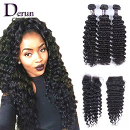Wholesale Brazilian Hair Extensions Deep Wave - Lace Closure With Brazilian Hair 3 Bundles Deep Wave Human Hair Weave Unprocessed Indian Malaysian Peruvian Hair Extensions