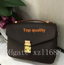 Wholesale Cowhide Leather Crossbody Bag - Top quality genuine leather women's handbag pochette Metis shoulder bags crossbody bags 40780 real oxidize cowhide