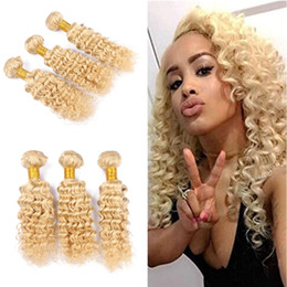 Wholesale Hair Weave Sold Bundles - Hot Selling 9A Deep Wave Wavy Blonde Hair Weaves Unprocessed Blonde #613 Brazilian Human Hair Weft Extensions 3 Bundles Free Shipping