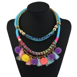 Wholesale Boho Exaggerated Necklace - Ethnic Bohemia Colorful Hairball Tassel Necklace Chain Boho Fashion Jewerly Big Cotton Statement Necklaces for Women Exaggerated Wholesale