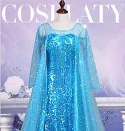 Wholesale Princess Woman Costume Halloween - Frozen Princess Elsa Dress Cosplay costume Adult and children princess skirt Cosplay