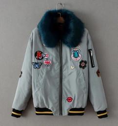 Wholesale Ladies Short Rabbit Fur Coats - 2017 new winter removable fur collar stickers letter badge lady flight jacket jacket cotton shirt zipper rabbit fur coat